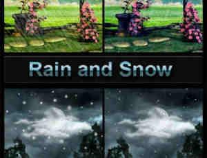 仿真式高分率雨水与雪花PS笔刷