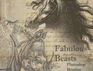 欧式复古画风马、犀牛PS动物笔刷