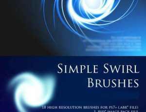 抽象光漩涡和简单涡流PS笔刷