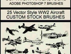 25种一战与二战中的老式飞机图案PS笔刷