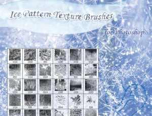 寒冷场景中的冰晶、窗花、雪花PS笔刷素材下载