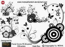 3款高贵的植物花纹背景装饰PS笔刷打包下载
