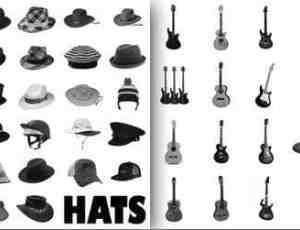 吉他贝斯与牛仔草帽PS笔刷素材下载