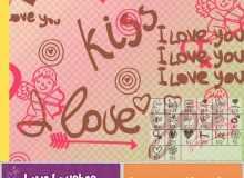 6个爱情爱心涂鸦装饰PS笔刷打包下载