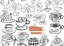 涂鸦式卡通咖啡杯PS笔刷素材下载