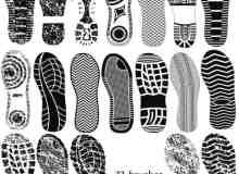 22种各式各样的脚印、鞋印、鞋底痕迹PS笔刷