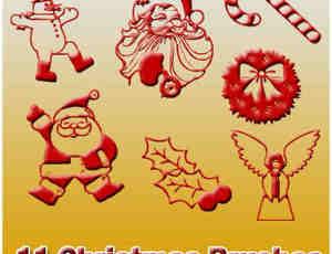 11种圣诞节元素装饰印花图案笔刷