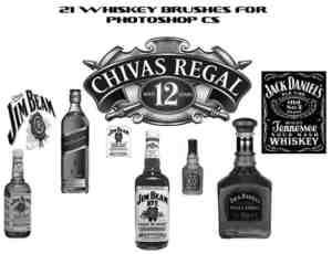 威士忌洋酒酒瓶子PS笔刷