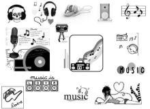 Music卡通涂鸦音乐元素PS笔刷