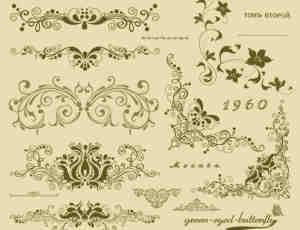 2款经典复古欧式花纹、墙壁印花PS笔刷
