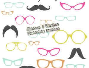 卡哇伊卡通眼镜框与胡子PS照片装饰笔刷