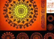 9种经典的罗盘式花纹印花笔刷素材