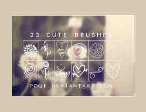 23个可爱的手绘涂鸦照片装饰PS笔刷