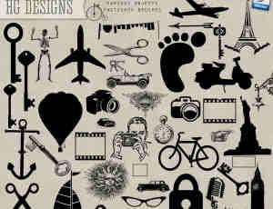 飞机、钥匙、自行车等生活元素笔刷