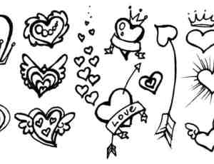 非主流式手绘爱情、爱心涂鸦笔刷