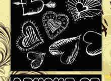 手绘心形和穿心装饰笔刷
