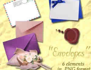 国外样式的信封、信件PS笔刷素材