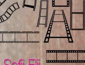 电影胶片和边框笔刷素材下载