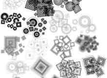 时尚元素同心方块、同心圆PS笔刷