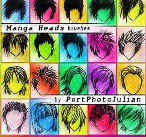 PS卡通人物发型、头型笔刷