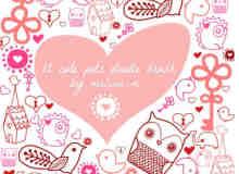 可爱的涂鸦爱心、猫头鹰、河豚、房子、小鸟、大象PS笔刷