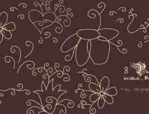 手绘线描花朵装饰Photoshop笔刷
