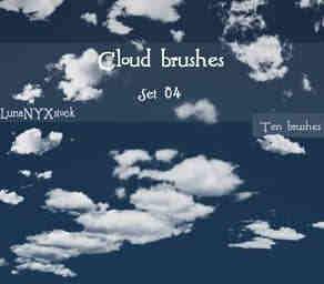 小清新的白云、云彩、云朵笔刷