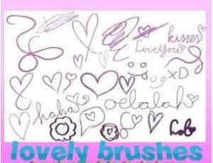心形手绘涂鸦爱心、爱情PS笔刷素材
