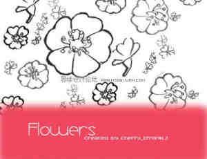 矢量涂鸦花朵、花朵PS笔刷素材