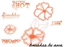 水墨水粉花朵PS笔刷