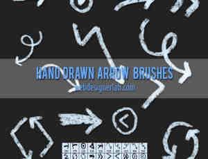 粉笔效果的箭头符号标志PS笔刷下载