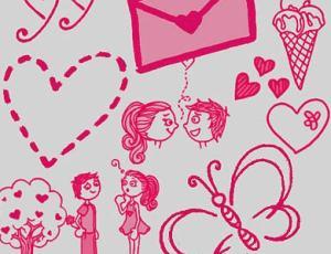 情人节爱情涂鸦元素PS笔刷下载