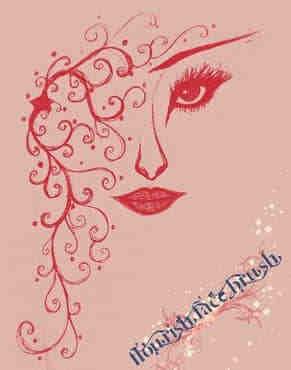 手绘女人花花卉花纹图案PS笔刷