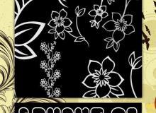 美丽的线描花朵PS笔刷下载