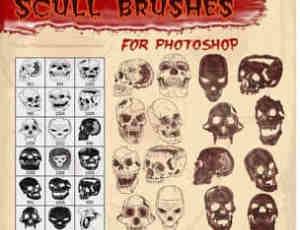 恐怖各式骷髅头造型PS笔刷