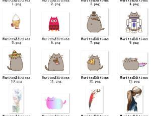 22个可爱卡通猫咪贴纸效果素材-【美图秀秀素材】