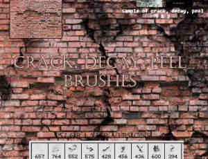 墙壁墙砖裂纹、破裂效果photoshop笔刷素材