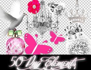 女性头饰、钻石、爱心、蝴蝶结、唇印等照片饰品素材-【美图秀秀素材】