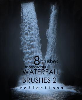 简单的瀑布流水效果Photoshop笔刷素材