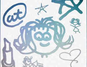 可爱儿童涂鸦photoshop笔刷素材下载