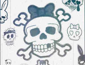 可爱粉色骷髅头非主流photoshop笔刷素材