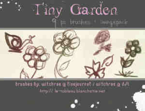 铅笔手绘童趣涂鸦花朵、蜗牛photoshop笔刷素材