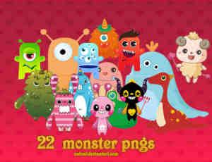 23个卡通小怪兽照片贴纸美化素材-【美图秀秀素材】