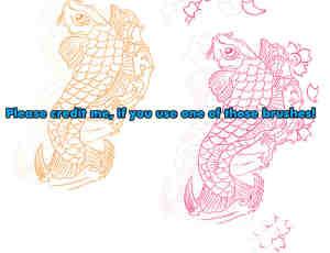 手绘线条鲤鱼跳跃photoshop笔刷素材