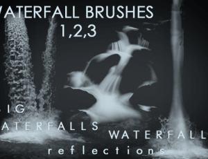 真实的瀑布流水和水潭子Photoshop笔刷素材