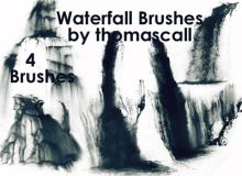 简单的瀑布流水效果Photoshop笔刷素材#.2