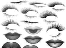 多种眼睫毛与嘴唇效果photoshop笔刷素材