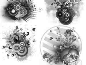 4个高清时尚潮流背景装饰元素photoshop笔刷素材