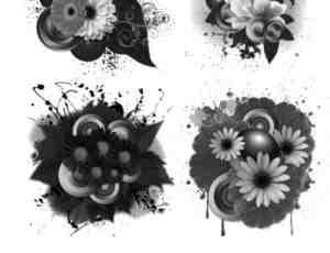 鲜花效果潮流背景装饰photoshop笔刷素材