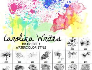 简单的颜料水粉画笔photoshop素材下载